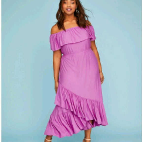 2f2319f6cbc4 Lane Bryant Dresses | Ruffle Off The Shoulder Maxi Dress | Poshmark